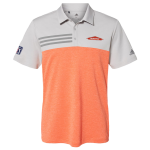 Coral Heather Adidas Colorblock 3-Stripe Polo