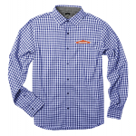 Gingham 4-Way Stretch Men's Shirt - True Blue