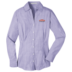 Women's Personalized Purple Long Sleeve Plaid EZ Care Shirt